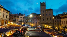 Tyrolean christmas market in the famous Piazza Grande of Arezzo royalty free stock photos