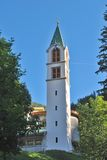 Tyrolean church. In Val di Fassa in the Italian Dolomites royalty free stock photo