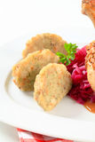 Tyrolean dumplings and red cabbage Royalty Free Stock Photo