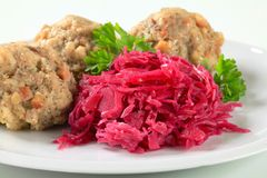 Tyrolean dumplings with red kraut Stock Image