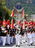 Tyrolean folk event. In Austria with dress parade bands Stock Images