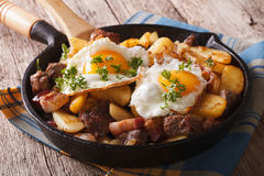 Tyrolean fried potatoes with meat, bacon and eggs in a pan. hori Stock Image