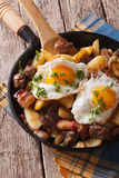 Tyrolean fried potatoes with meat, bacon and eggs in a pan. vert Royalty Free Stock Image