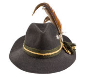 Tyrolean hat. With a feather on a white background Stock Photo