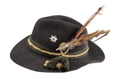 Tyrolean hat with a feather. On a white background Royalty Free Stock Images