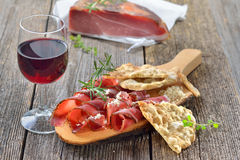 Tyrolean snack with bacon Royalty Free Stock Photos
