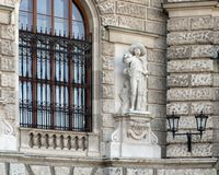 Tyrolean or Tyrolian Defender by Johann Silbernagl, Neue Burg or New Castle, Vienna, Austria. Pictured is one of twenty statues on the façade of the Neue Burg stock photography