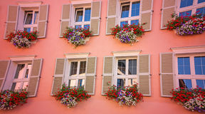 Tyrolean windows in  Austria Royalty Free Stock Photography