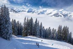 Tyrolian Alps in Austria from Kitzbuehel ski resort. View to Alpine mountains in Austria from Kitzbuehel ski resort - one of the best ski resort in the workd Stock Photo