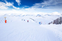 Tyrolian alps and ski slopes in Austria in famous Kitzbuehel ski resort. Stock Photos