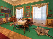 Tyrols hunter eating room in palace Saint Anton Stock Photos
