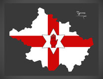 Tyrone Northern Ireland map with Ulster banner Stock Images