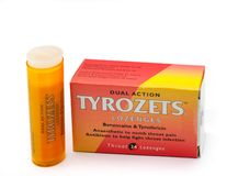 Tyrozets Branded Throat Lozenges in Recyclable Packaging and Iso. Largs, Scotland, UK - November 22, 2018: Tyrozets Branded Throat Lozenges in Recyclable stock image