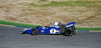 Tyrrell 001 en pista Imágenes de archivo libres de regalías