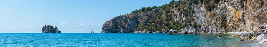 Tyrrhenian τοπίο θάλασσας, Campania, Ιταλία Στοκ φωτογραφία με δικαίωμα ελεύθερης χρήσης
