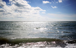 Tyrrhenian Sea in autumn. Ostia, Italy Royalty Free Stock Photos