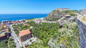 Tyrrhenian sea coast in Milazzo town, Sicily, Italy. Panoramic view of Tyrrhenian sea coast in Milazzo town, Sicily, Italy. Milazzo Castello on the background stock video footage