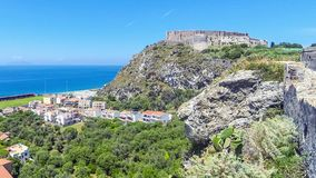 Tyrrhenian sea coast in Milazzo town, Sicily, Italy. Panoramic view of Tyrrhenian sea coast in Milazzo town, Sicily, Italy. Milazzo Castello on the background stock video