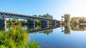 Tyrs Bridge over Labe River in Litomerice on sunny summer day, Czech Republic royalty free stock photography