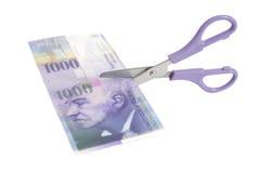 Tysiąc szwajcarskiego franka banknotów z nożycami Obrazy Royalty Free
