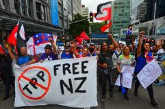 Tysiące protest Przeciw TPPA w Środkowym Auckland Nowa Zelandia Zdjęcia Royalty Free