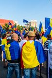 Tysiące protestujący zbierali w miastach przez Rumunia Obrazy Stock