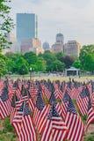 Tysiące USA flagi zasadzać w Boston Common upamiętniać spadać żołnierzy w wojnach, podczas Memorial Day weekendu obrazy stock