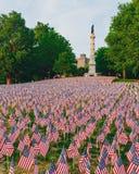 Tysiące USA flagi zasadzać w Boston Common upamiętniać spadać żołnierzy w wojnach, podczas Memorial Day weekendu fotografia stock