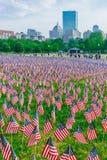 Tysiące USA flagi zasadzać w Boston Common upamiętniać spadać żołnierzy w wojnach, podczas Memorial Day weekendu obraz royalty free