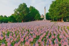 Tysiące USA flagi zasadzać w Boston Common upamiętniać spadać żołnierzy w wojnach, podczas Memorial Day weekendu zdjęcia stock