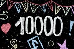 10 tysięcy kredowego rysunku na blackboard zdjęcie stock