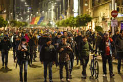 Tysięcy protestujący w Bucharest Fotografia Royalty Free