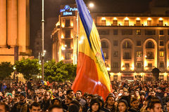 Tysięcy protestujący w Bucharest Obraz Stock