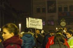 Tysięcy protestujący w Bucharest Obraz Royalty Free