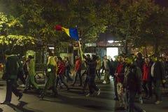 Tysięcy protestujący w Bucharest Zdjęcie Stock