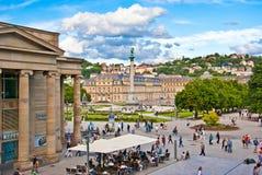 Tysk atmosfär i Stuttgart - Schlossplatz Arkivfoto