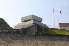 Tysk bunkerminnesmärke, Omaha Beach Royaltyfria Foton