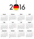 Tysk fast kalender för 2016 med flaggan som etikett Arkivbild