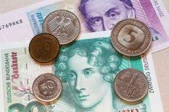 Tysk fläck, gammal valuta Fotografering för Bildbyråer