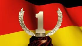 Tysk flagga och en första ställetrofé