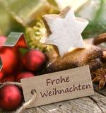 Tysk: Frohe Weihnachten Arkivfoton