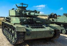 Tysk gjorde den Panzer PzKpfw droppen medelstridbehållaren som fångades av IDF på Golan Heights Latrun Israel Royaltyfria Foton