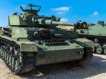 Tysk gjorde den Panzer PzKpfw droppen medelstridbehållaren som fångades av IDF på Golan Heights Latrun Israel Arkivfoto