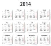 Tysk kalender för 2014 med skuggor. måndagar först Royaltyfria Bilder