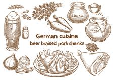 Tysk kokkonst Öl bräserade grisköttlägg Traditionell mest octoberfest royaltyfri illustrationer