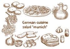 Tysk kokkonst Ingredienser för sallad`-Munich ` vektor illustrationer