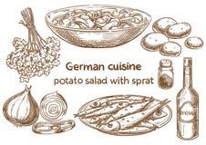 Tysk kokkonst Potatissallad med lilla stackaren Traditionellt mest octoberfest f vektor illustrationer