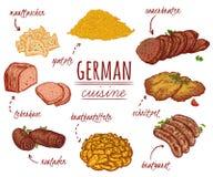 Tysk kokkonst Samling av läcker mat Isolerade beståndsdelar royaltyfri illustrationer