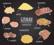 Tysk kokkonst Samling av läcker mat på den svart tavlan royaltyfri illustrationer