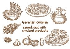 Tysk kokkonst Surkål med rökte produktingredienser stock illustrationer